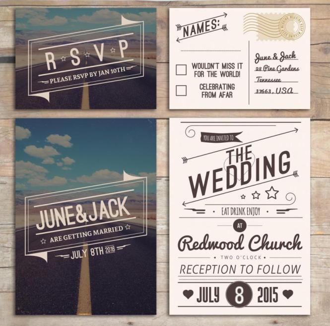 Retro Wedding Invitation Set American Design Rockabilly