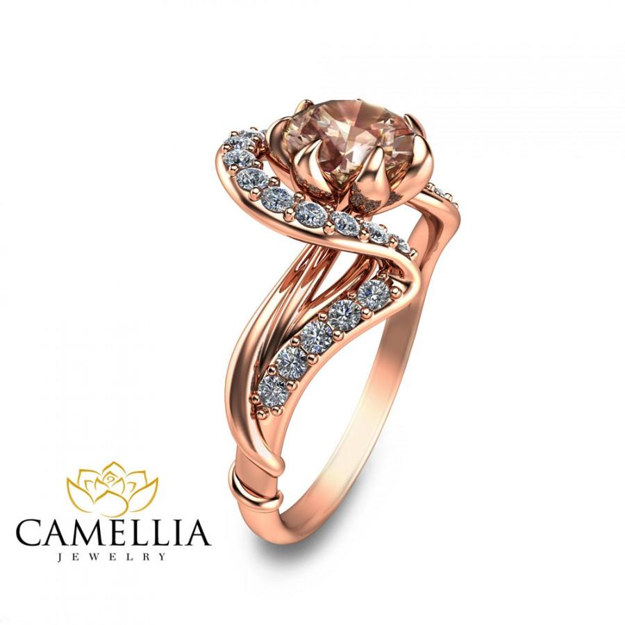 Rose Gold Morganite Engagement Ring Art Nouveau Engagement