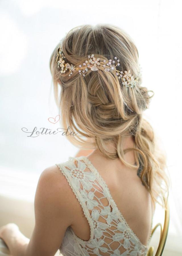 gold boho flower crown wedding headpiece, bridal hair vine