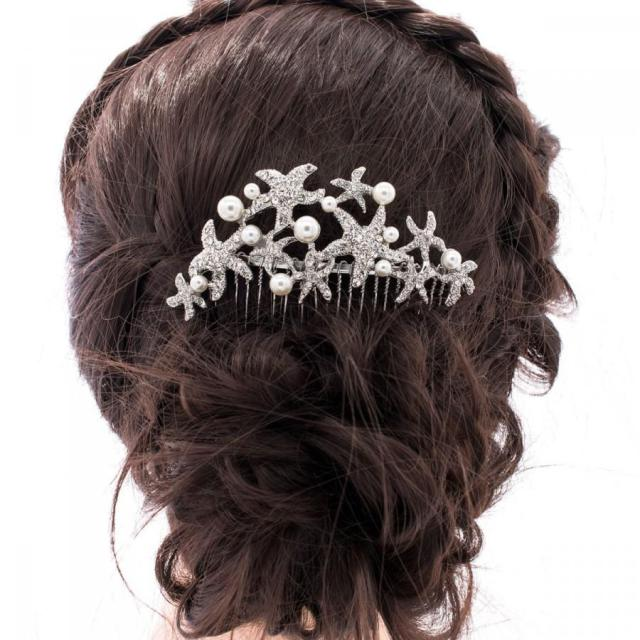 pearl wedding hair comb starfish bridal hair comb rhinestone