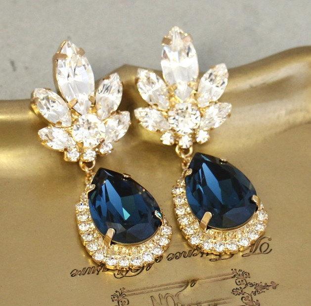 Blue Navy Chandelier Earrings Bridal Dangle Midnight Swarovski Drop