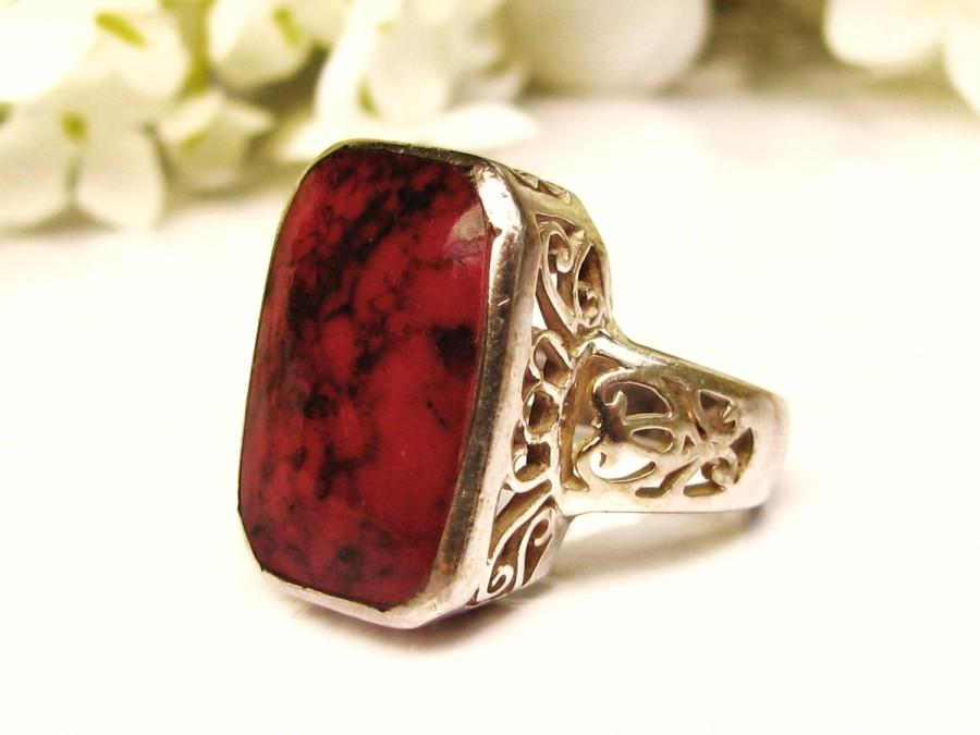 Art Deco Style Red Jasper Silver Filigree Ring Vintage