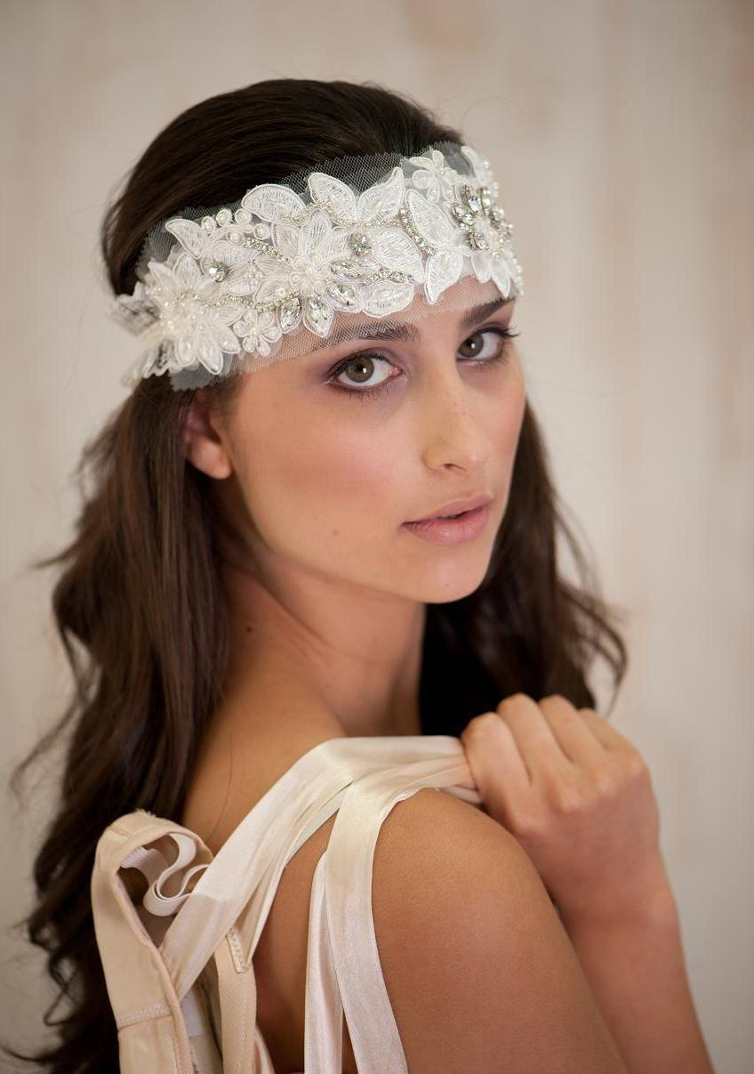 bridal hair accessories bridal headband bridal tiara wedding jewelry headband vintage wedding bridal hair band vintage ivory lace