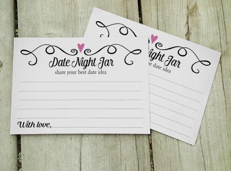 Date Night Jar Cards,Two Hearts Date Jar Wedding Notecards