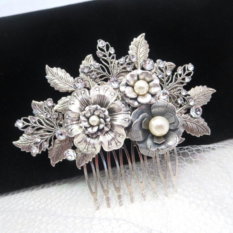 bridal hair comb wedding headpiece wedding hair accessory rhinestone headpiece wedding hair piece bridal hair clip antique silver comb