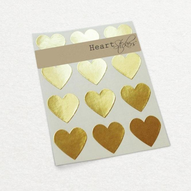 Gold Heart Sticker Wedding Invitation