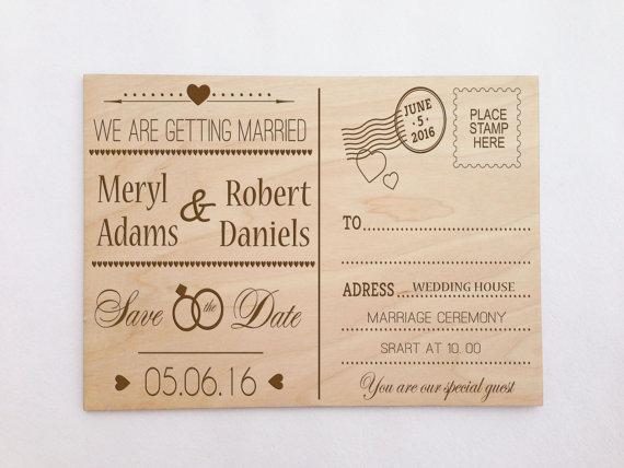 Custom Wooden Engraved Postcard Wedding