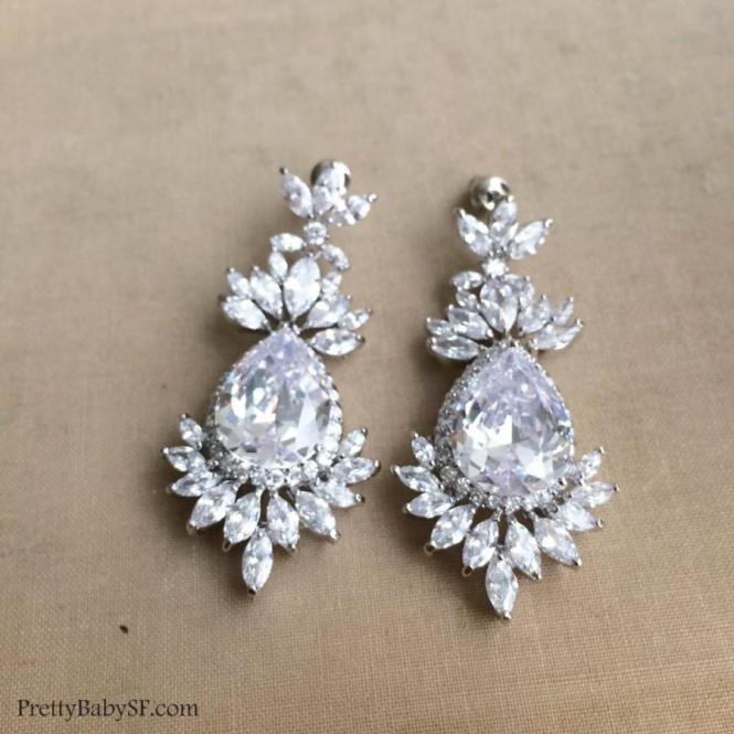 Art Deco Earring Jewelry Chandelier Bridal Cz Crystal Wedding Great Gatsby Large