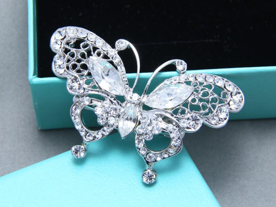 butterfly rhinestone crystals clip wedding bridal hair alligator clip flower girl hair clip crystal hair clip rhinestone hair comb