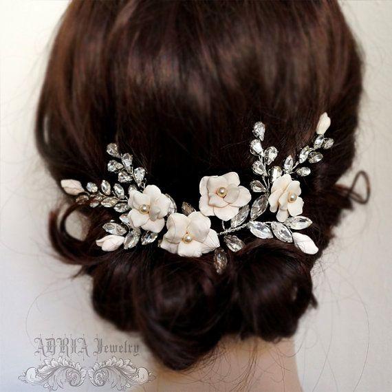bridal headpiece wedding hair accessories flower rhinestone wedding hair vine bridal hair combs rhinestone wedding headpieces