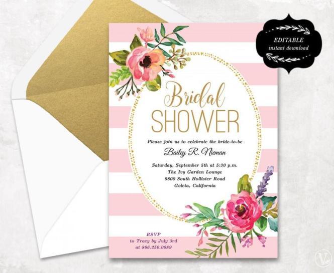 Blush Pink Fl Bridal Shower Invitation Template