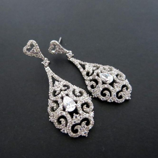 Bridal Earrings Chandelier Wedding Vintage Glamour Crystal Rhinestone Long