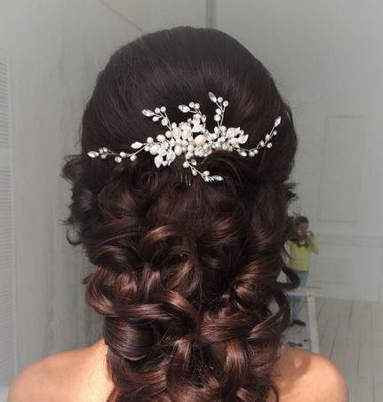 pearl wedding hair b crystal bridal hair b pearl hair b rhinestone hair b bridal