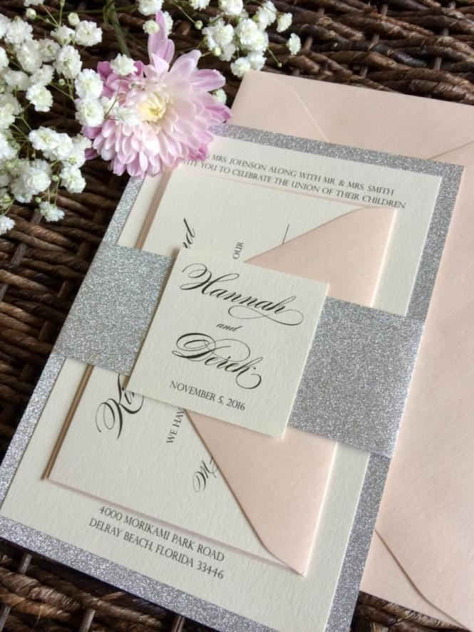 Silver Glitter Wedding Invitation With Belly Band