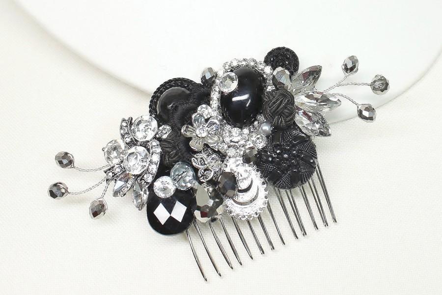 black rhinestone hair comb black hair clip black hair accessories black bridal comb black bridal hair accessories black and silver hair comb
