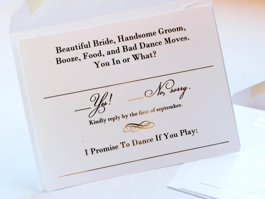 Gold Foil Wedding Invitation RSVP Cards // Metallic Gold
