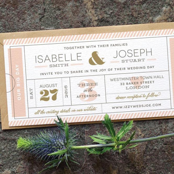 Modern Ticket Wedding Invitation