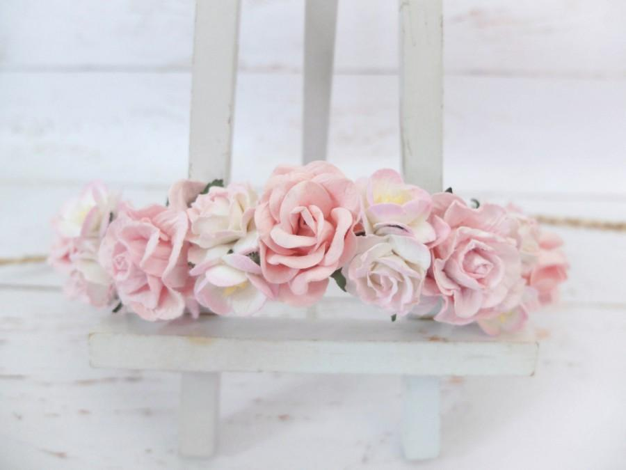 Light Pink Flower Crown White And Pink Wedding Floral