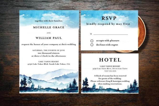 Printable Rocky Mountain Love Wedding Invitation Suite