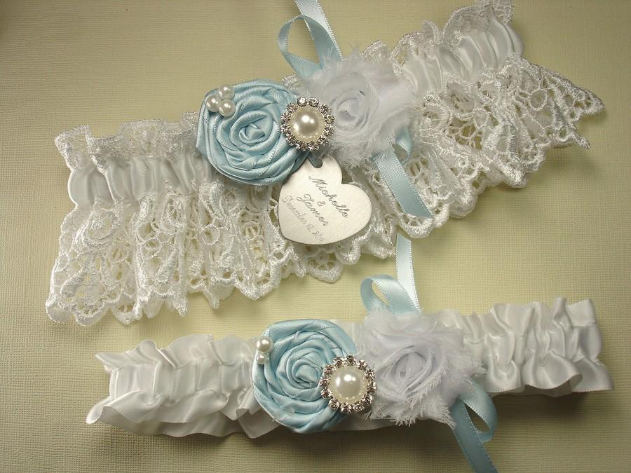 Blue Wedding Garter Set, Personalized Garters In White Or