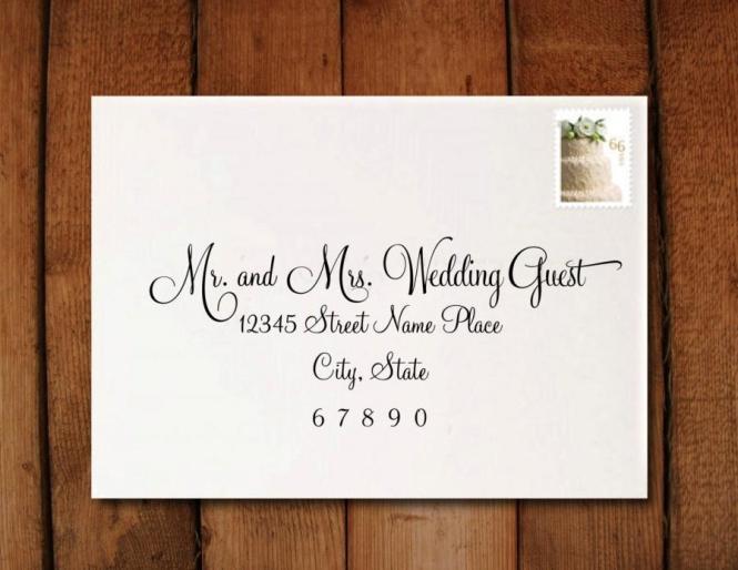 Wedding Invitation Calligraphy Digital Address Formatting
