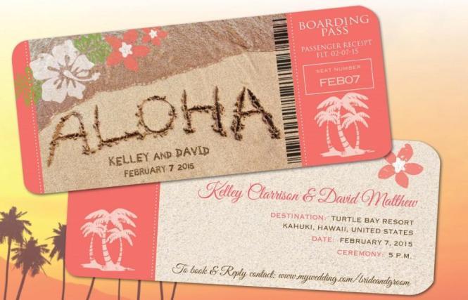 Hawaii Wedding Boarding Pass Save