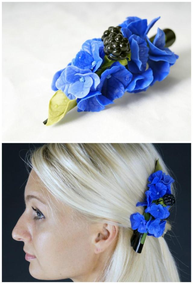 blue flower hair clip, hydrangea hair clip, bridal hairpiece