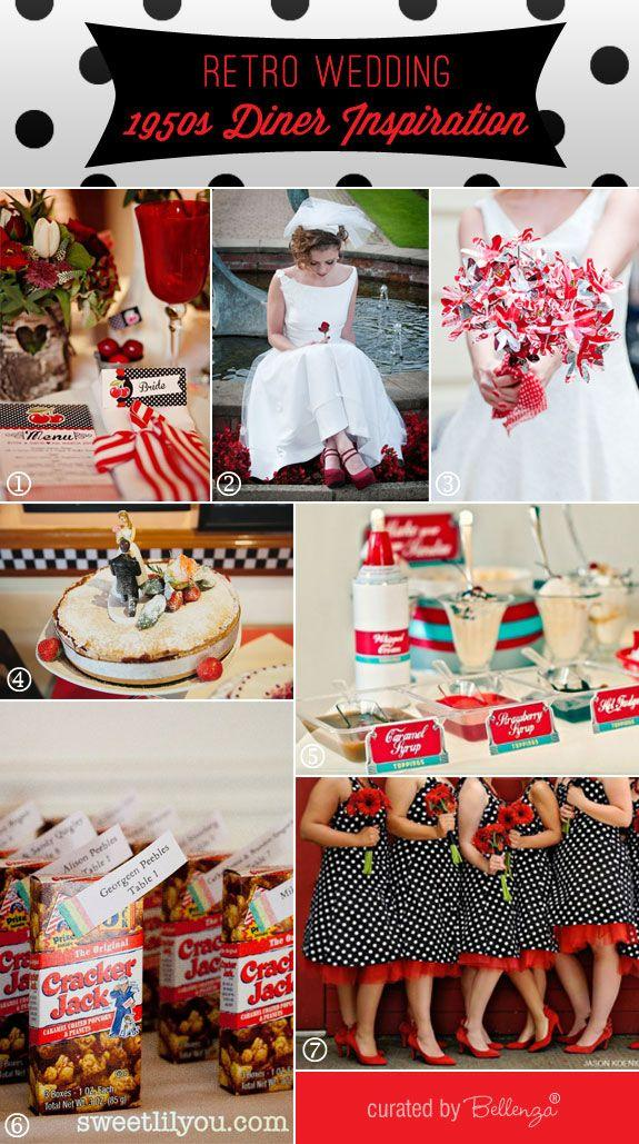 Retro Wedding Theme 1950s Diner Inspiration Board