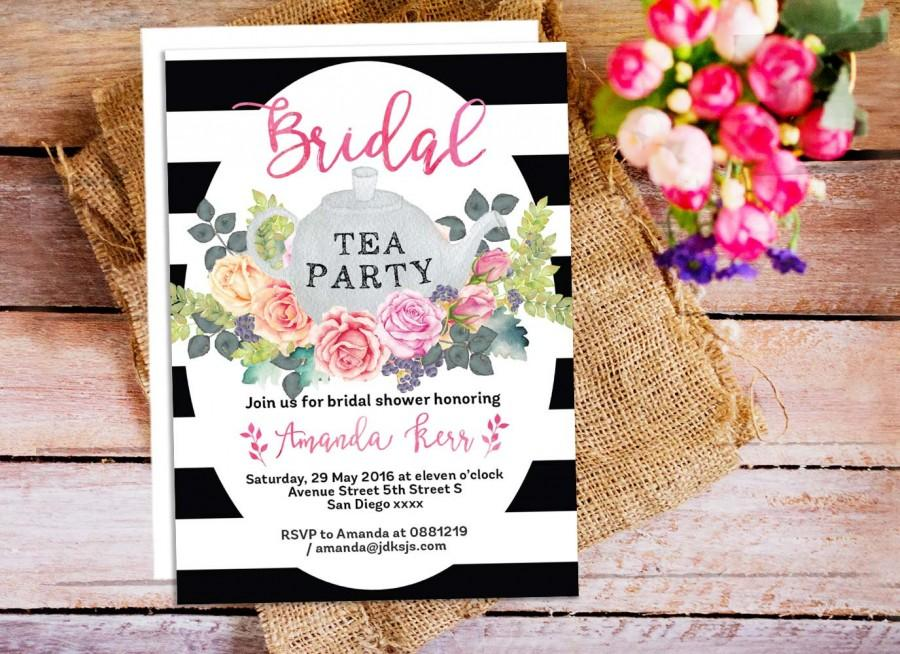 Floral Tea Party Invitations Bridal Shower Tea Invitation