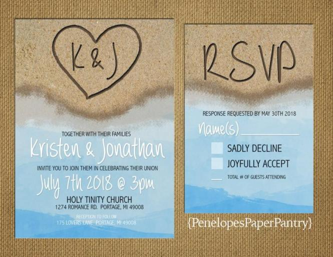 Destination Beach Wedding Invitation Heart In The Sand With