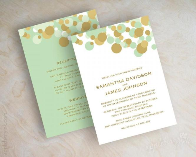 Mint Green And Gold Polka Dot Wedding