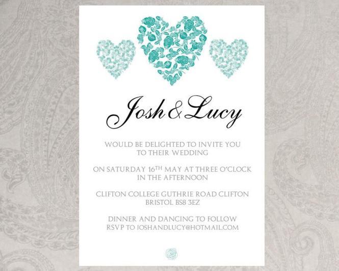 Wedding Invitation Template Trio Of Hearts