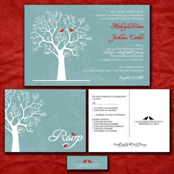 Custom Wedding Invitation Set Love Birds In Winter Blue