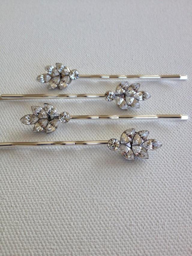 set of 3, swarovski crystal leaf bobby pins, rhinestone