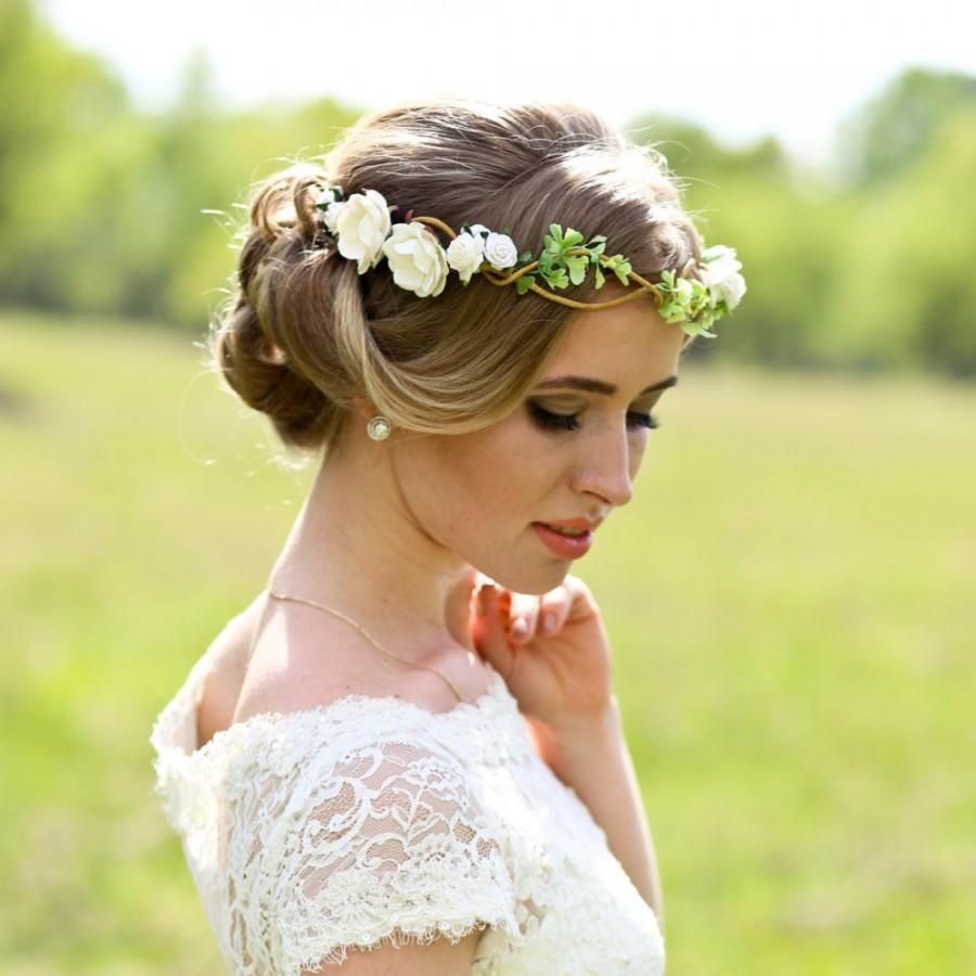 flower crown wedding headpiece woodland flower bridal hair flower rustic wedding bridal headband