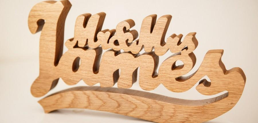 Personalised Mr And Mrs Wooden Name Freestanding Wedding