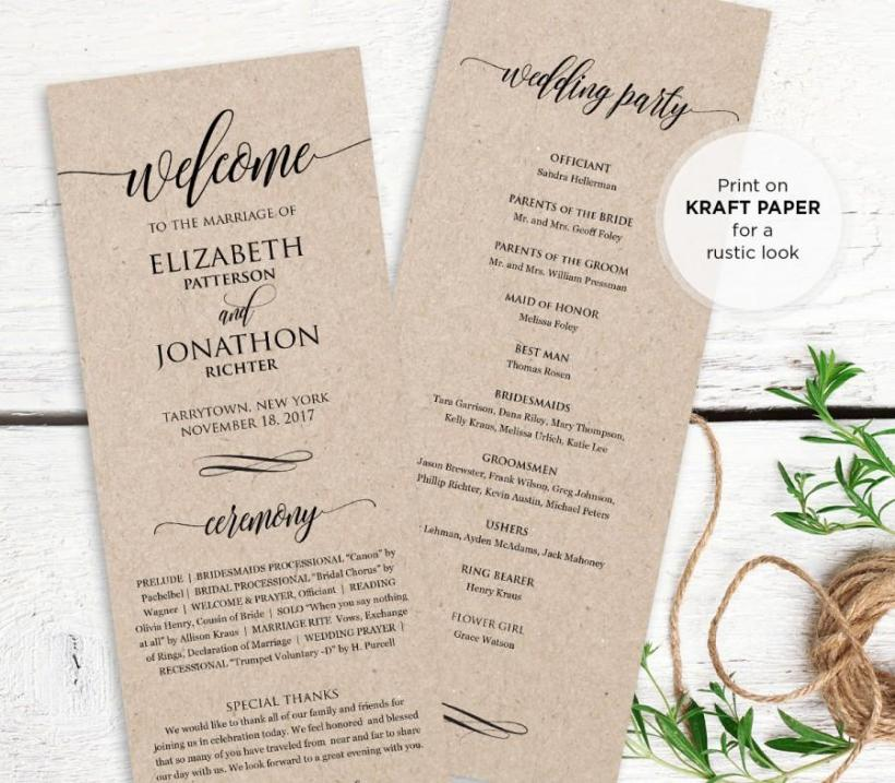 Funky Wedding Ceremony Order Of Service Template Photos - Resume ...