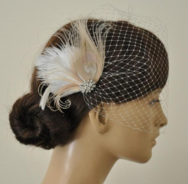 birdcage veil ,champagne peacock ,feathers fascinator,(2
