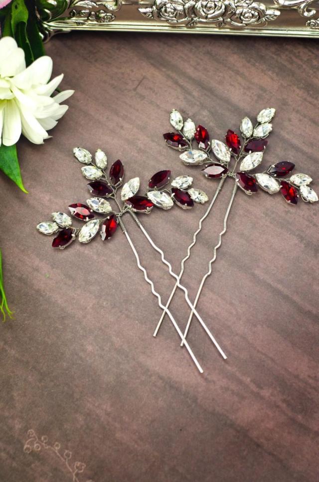 red rhinestone hair pins, red crystal hair pins, red hair
