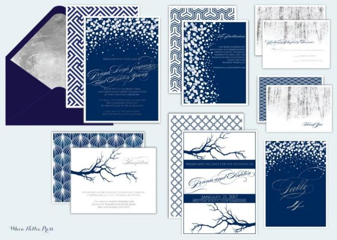 Winter Wedding Invitations Formal Elegant Navy Silver Snow