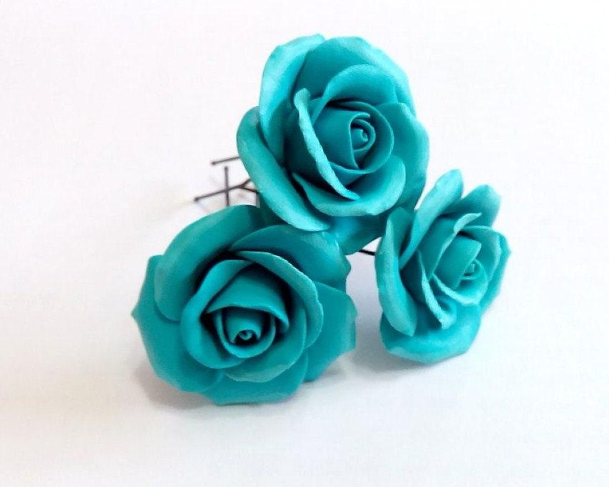Turquoise Roses Large Rose  Wedding Hair Accessories  Bohemian     Turquoise roses large rose  Wedding Hair Accessories  Bohemian Wedding  Hairstyles Hair Flower  Turquoise wedding  Hair clips flowers   Set