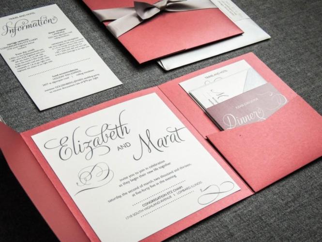 Winter Wedding Invitations Red Black