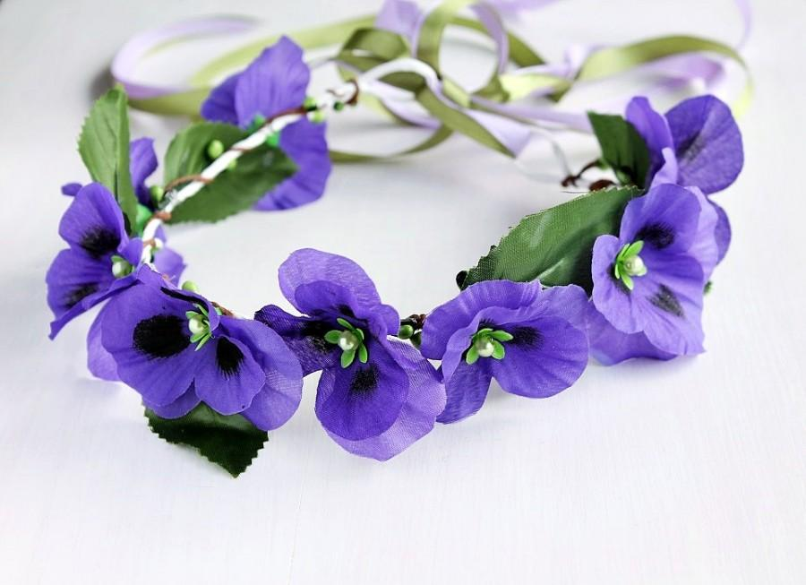 Purple Bridal Crown Flower Girl Halo Woodland Crown