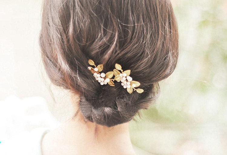gold pearl bridal hair pins golden hair pins wedding hair accessories golden hair accessories pearl hair pins vintage hair pins