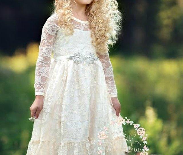 6e9db58ea1b Flower Girl Dress Girl Lace Dress Country Lace Dress Ivory Lace Dressrustic Flower  Girl Dresslong Sleeve