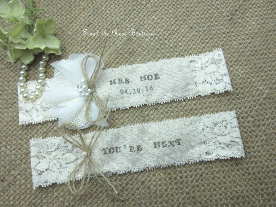 Personalized Monogrammed Wedding Garter Set ,Rustic
