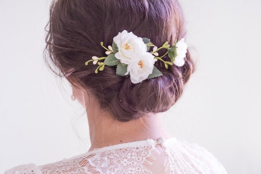 Wedding Hair Clip Bridal Headpiece White Flower Hair