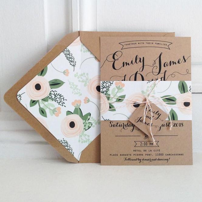Kraft Wedding Invitation Suite Lined Envelopes