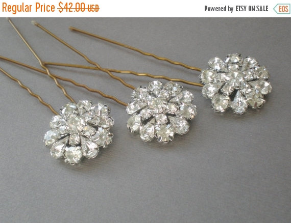 on sale bridal hair pins diamond rhinestone bling chic prom bride maids bridal shower