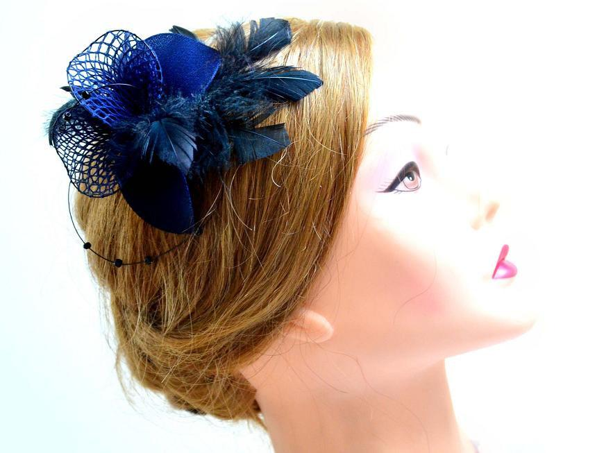 Navy Blue Feather Fascinator Wedding Headpiece Bridesmaid